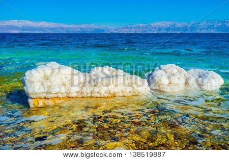 The shores of the Dead Sea are full of white stones covered with the crystals of salt Ein Gedi Israel.