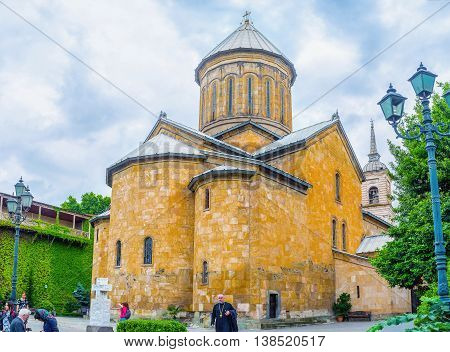TBILISI GEORGIA - MAY 28 2016: The apse of Sioni Cathedral of the Dormition the beautiful medieval church named after Jerusalem's church on Mount Zion on May 28 in Tbilisi.