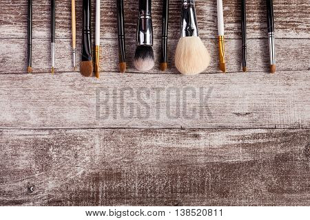 Make Up Brushes In On Top View Image