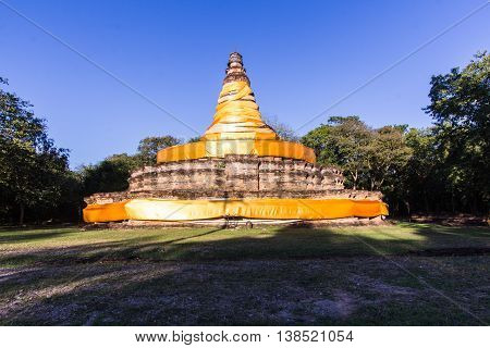 old pagoda in wiang tha kan,Ancient City in chiangmai, Thailand