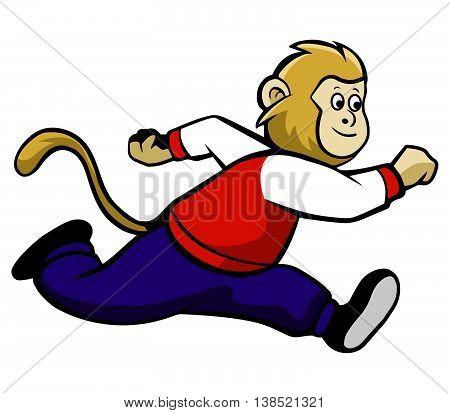 Vector illustration of running monkey wearing varsity jacket