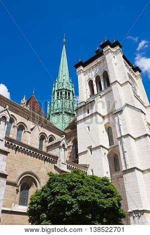 The St. Pierre Cathedral is a cathedral in Geneva Switzerland today belonging to the Reformed Protestant Church of Geneva. Spire of St. Pierre Cathedral