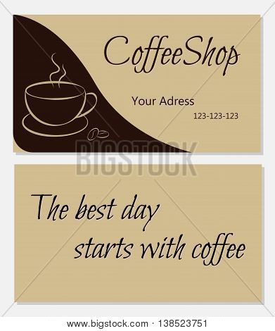 Template designs of business card for coffee shop with text on the back side. vector illustration