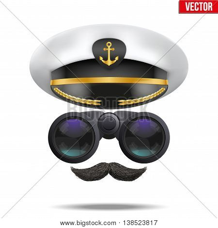 Symbol of the sea captain with peacked cap and binoculars. Editable Vector illustration Isolated on background.