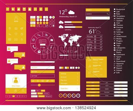 User interface for mobile and web, with ui kit pink and yellow color