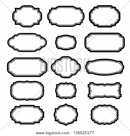 Black frames set for pictures. Beautiful simple design. Vintage style decorative border isolated on white background. Deco elegant art object. Empty copy space decoration banner. Vector illustration