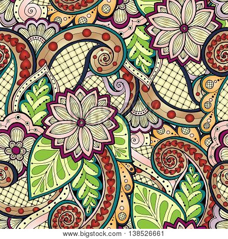 Doodle seamless background in vector with doodles, flowers and paisley. Vector ethnic pattern can be used for wallpaper, pattern fills.