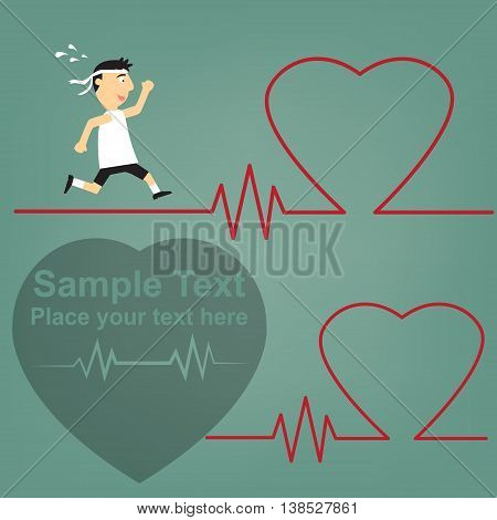 schematic illustration of the relation between sport and health of the heart running medical man with ECG heartbeat.