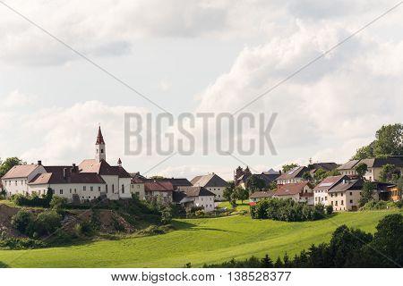 old castle Goetzendorf with eponymous village - landscape