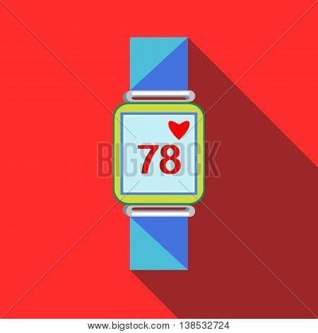 Pulsometer heart rate monitor watch icon in flat style with long shadow