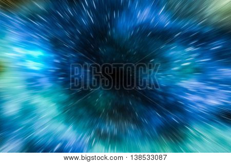 Illustration of abstract background of wormhole tunnel travelling in hyperspace