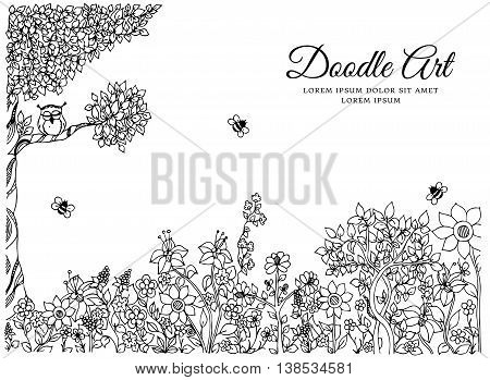 Vector illustration of floral frame Zen Tangle. Dudlart. Coloring book anti stress for adults. Black and white.