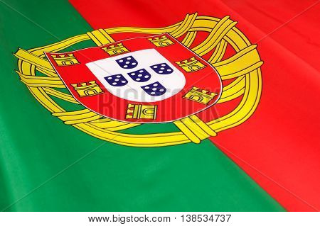 Flag of Portugal. Close-up of the national flag of Portugal.