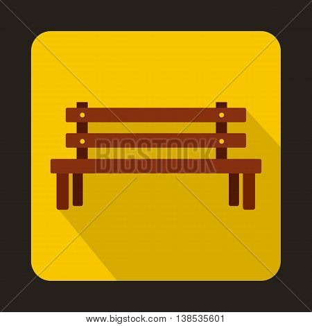 Wooden bench icon in flat style with long shadow. Seat symbol