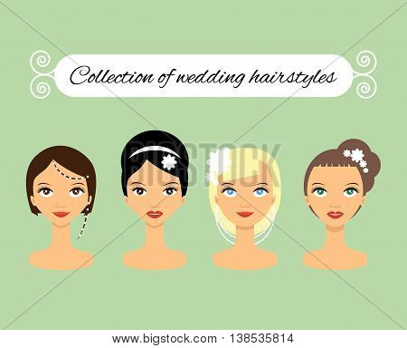 Set of different wedding hairstyles for bride - stock vector illustration.