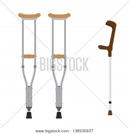 Crutches icon. Vector illustration of pair wooden crutches and medical walking sticks for rehabilitation of broken leg.