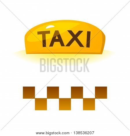 The yellow illuminated taxi sign and checkerboard sign, vector illustration