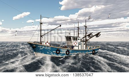 Computer generated 3D illustration with a fishing trawler