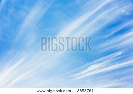 Cirrus Clouds In Blue Sky, Natural Photo