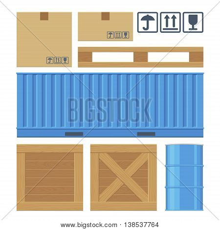Brown carton packaging box, pallet, yellow container, wooden crates, metal barrel isolated on white background with fragile attention signs. Flat vector set illustration for icon, banner, info graphic.
