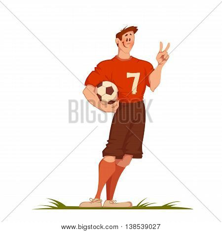 Football man with ball. Sportsman isolated on white. Vector illustration.