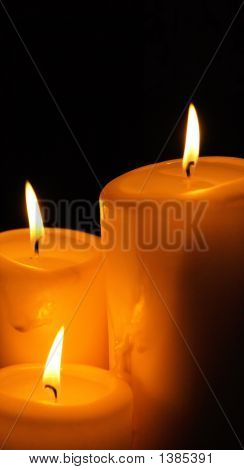Three Romantic, Burning Candles