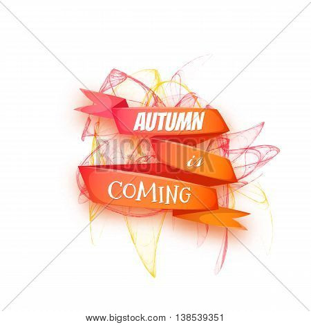 Autumn banners with ribbon and abstract pattern. Vector illustration.