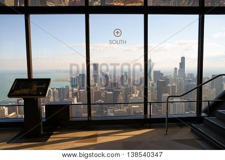 CHICAGO, IL - CIRCA MARCH, 2016: inside of John Hancock Center's observatory. The John Hancock Center is a supertall skyscraper at 875 North Michigan Avenue, Chicago.