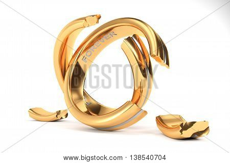 3d illustration Wedding Rings symbolizing the divorce between two people
