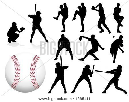Baseball Players Silhouettes.Eps