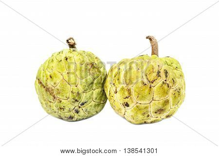 Two Custard Apple  (sugar-apple, Annona, Sweetsop) Isolate On White Background