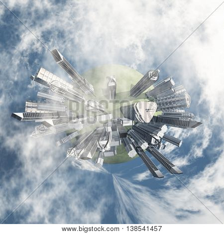 City Earth with Clouds 3D Render