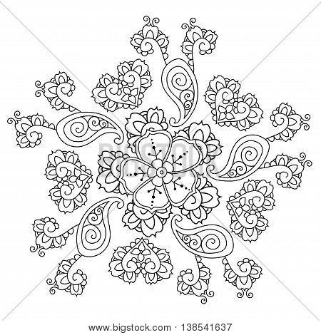 monochrome image of Mendie Mandala. Art Vector illustration