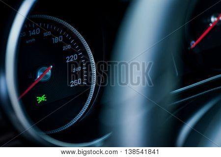 Luxury Car Interior Details. Speedometer, Steering Wheell