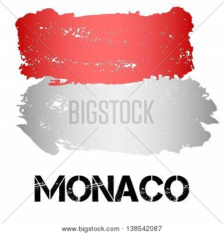 Flag of Monaco from brush strokes in grunge style isolated on white background. Country in Western Europe. Vector illustration