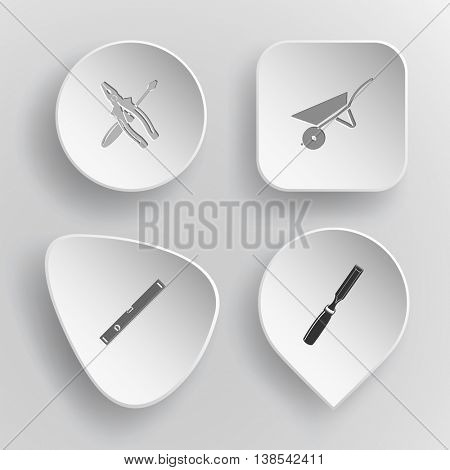 4 images: screwdriver and combination pliers, wheelbarrow, spirit level, chisel. Industrial tools set. White concave buttons on gray background. Vector icons.
