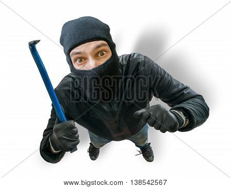 Funny Masked Robber Or Thief. View From Top Or From Hidden Camer