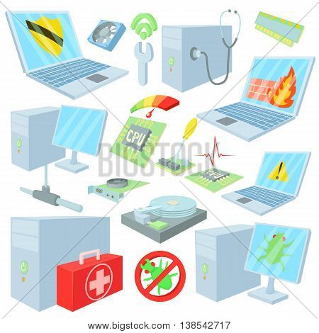 Computer repair icons in cartoon style. Computer service set collection isolated vector illustration
