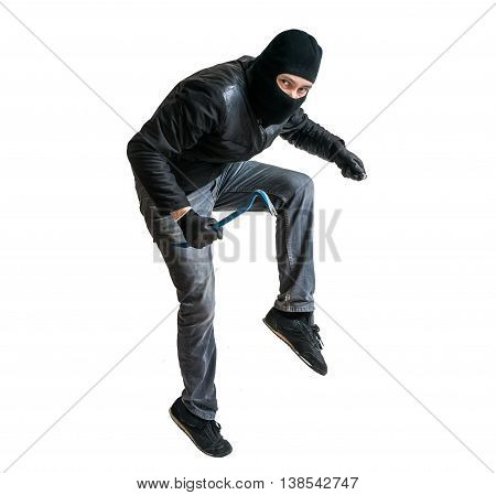 Robber Or Burglar Creeping On Tiptoe. Isolated On White.