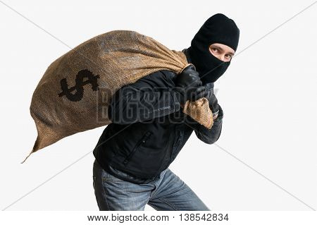 Thief Robbed Bank And Is Carrying Full Bag Of Money. Isolated On