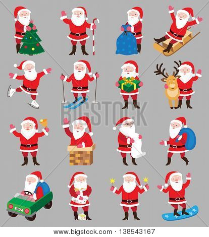 Set of christmas icons with Santa Claus (vector illustration)