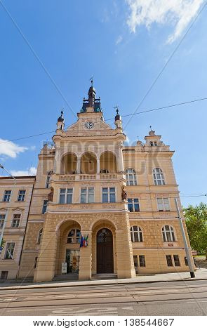 PRAGUE CZECH REPUBLIC - MAY 20 2016: Nusle Town Hall (Nuselska radnice circa 1908) on Taborska Street in Nusle district of Prague. Nusle was independent town and became part of Prague in 1922