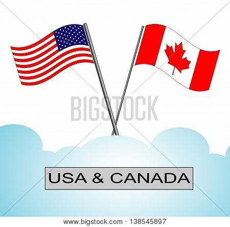 A pair of crossed American and Canadian flags with names sign in the frame. Flags have a crossed poles in decorative blue cloudy background.
