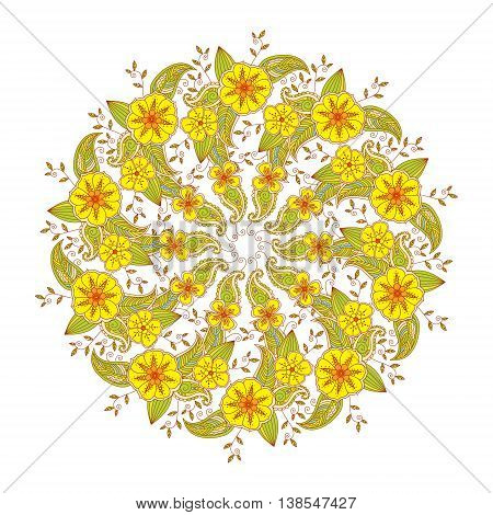 Colorful Mendie Mandala with flowers and leaves. Art vector illustration