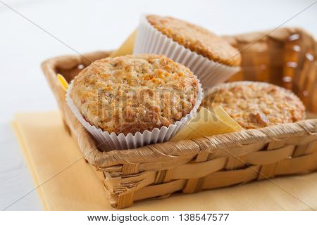 Bright Fragrant Pumpkin Cup Cakes, Muffins In A Basket