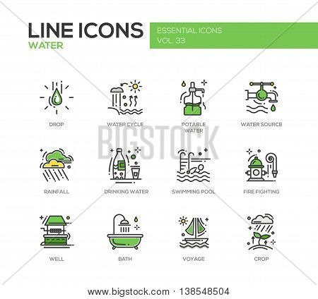 Water - modern vector line design icons and pictograms set. Drop, water cycle, potable, drinking water, source, rainfall, swimming pool, fire fighting, well, bath voyage crop poster