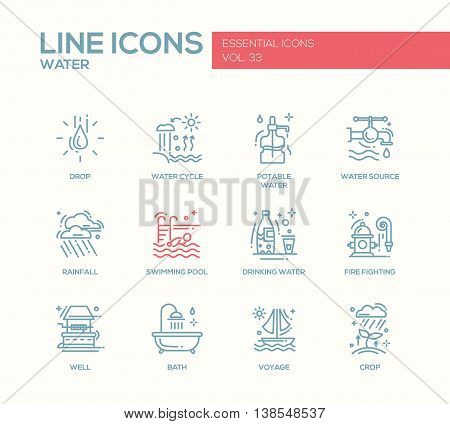 Water - modern vector simple line design icons and pictograms set. Drop, water cycle, potable, drinking water, source, rainfall, swimming pool, fire fighting, well, bath voyage crop