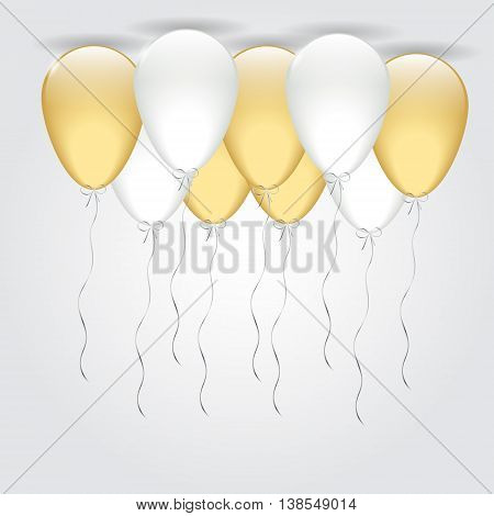 Illustration Vector Shiny Holiday Background with Gold and Silver Balloons
