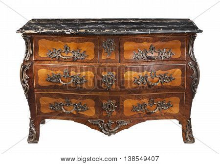 old vintage antique chest black marble top commode inlaid and with ormolu furniture isolated on white with clipping path