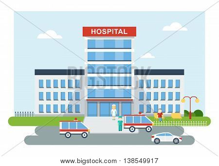 Building of the city hospital. Medical infrastructure roads and machinery medical personnel. Cartoon flat vector illustration. Objects isolated on a white background.